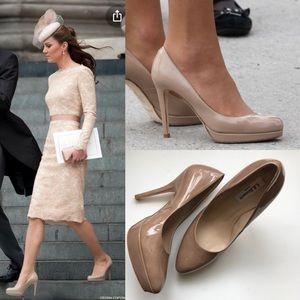 L.K. Bennett Nude Leather Sledge Heels Size 38